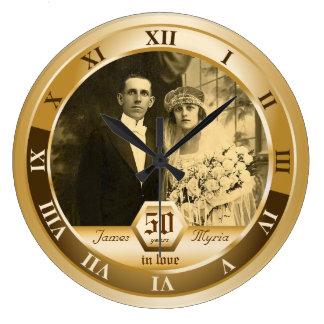 Regalo adaptable de la foto del aniversario de reloj redondo grande