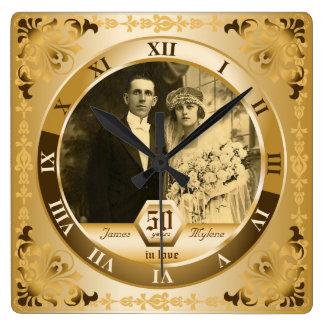 Regalo adaptable de la foto del aniversario de reloj cuadrado