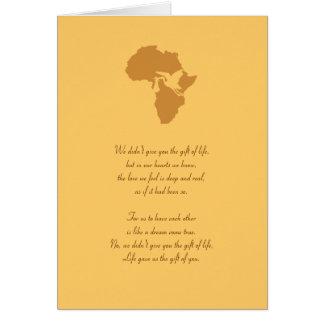 ¡Regalo africano de la adopción de usted poema - Tarjeta Pequeña