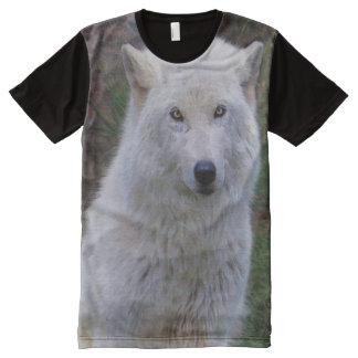Regalo ártico del partidario de la fauna del lobo playeras con estampado integral