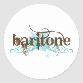 Regalo azul de la música del barítono del Grunge Pegatina Redonda