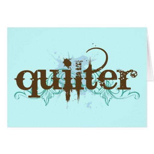 Regalo azul de Quilter del Grunge Tarjetón