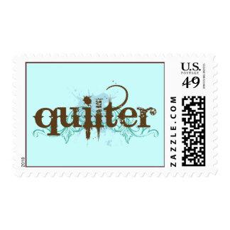 Regalo azul de Quilter del Grunge Timbres Postales