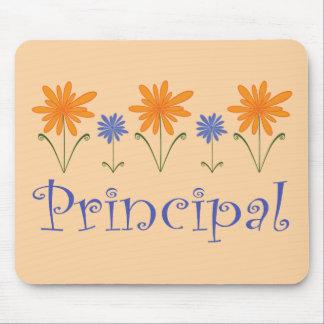 Regalo azul del director de escuela de la flor mousepads
