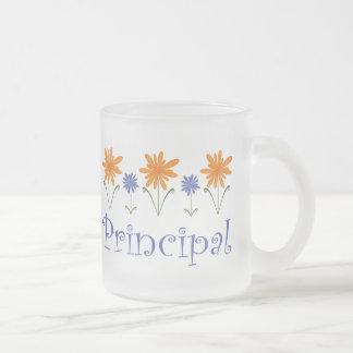 Regalo azul del director de escuela de la flor taza de cristal