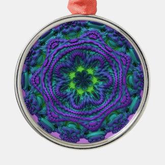 Regalo azul fungoso extranjero de la decoración de adorno redondo plateado