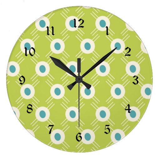 Regalo azulverde del día de madre de los círculos  reloj redondo grande
