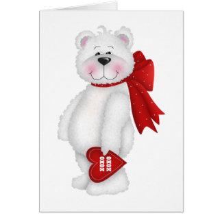 Regalo blanco del oso del el día de San Valentín Tarjeta De Felicitación