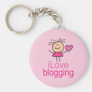 Regalo Blogging de la camiseta del amor lindo de I Llavero Redondo Tipo Pin