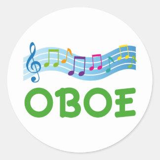 Regalo brillante de Oboe del personal de la música Pegatina Redonda
