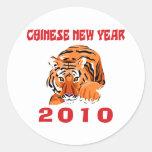 Regalo chino 2010 del Año Nuevo Pegatinas Redondas