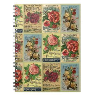 Regalo color de rosa antiguo del diario del jardín libreta espiral