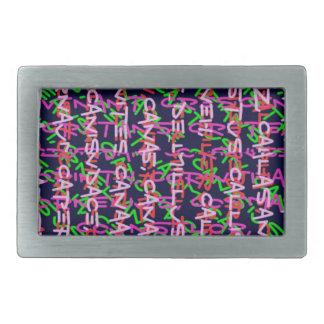 Regalo COLORIDO colorido de la moda del arte alfa Hebillas De Cinturón Rectangulares