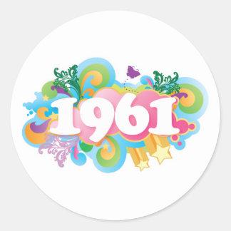 Regalo colorido de 1961 pegatinas pegatinas redondas