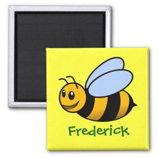 Regalo conocido personalizado abeja linda del dibu imán cuadrado