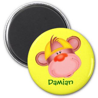 Regalo conocido personalizado cara linda del mono  imán redondo 5 cm