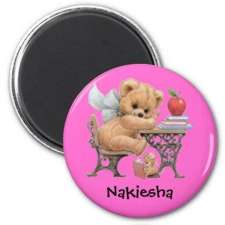 Regalo conocido personalizado lindo del oso de pel imán redondo 5 cm
