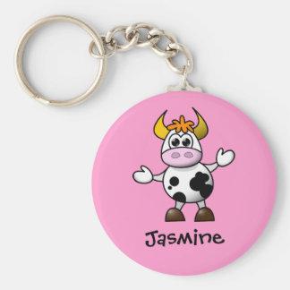 Regalo conocido personalizado vaca linda del dibuj llaveros