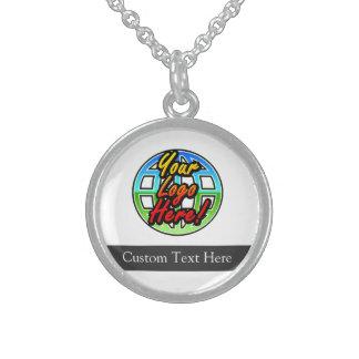 Regalo corporativo del logotipo de encargo collar de plata esterlina