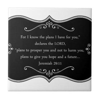 Regalo cristiano de encargo del 29:11 de Jeremiah Azulejo Cuadrado Pequeño