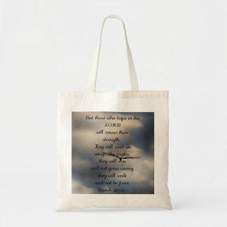 Regalo cristiano de encargo del verso de la biblia bolsa tela barata
