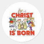 Regalo cristiano del navidad de los niños pegatina redonda