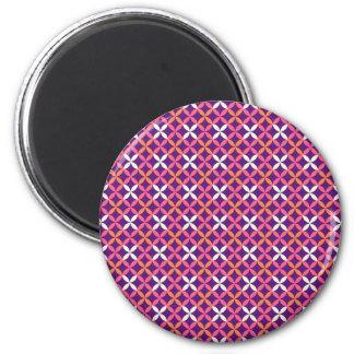 Regalo cruzado blanco rosado púrpura bonito del mo imán redondo 5 cm