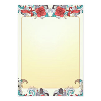 Regalo de boda colorido del flor y del damasco invitación 12,7 x 17,8 cm
