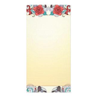 Regalo de boda colorido del flor y del damasco plantilla para tarjeta de foto