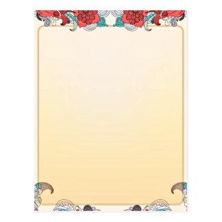 Regalo de boda colorido del flor y del damasco tarjeta postal