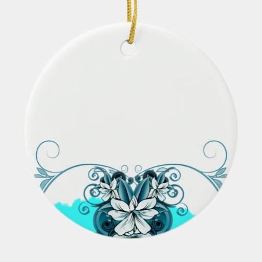 Regalo de boda floral azul claro elegante adorno redondo de cerámica