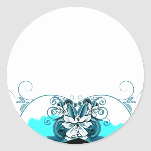 Regalo de boda floral azul claro elegante etiquetas