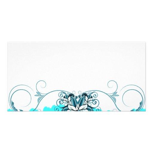 Regalo de boda floral azul claro elegante plantilla para tarjeta de foto