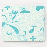 Regalo de boda floral azul de la aguamarina hermos tapete de raton