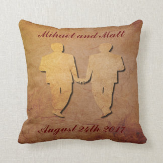 Regalo de boda gay de la almohada rústica roja