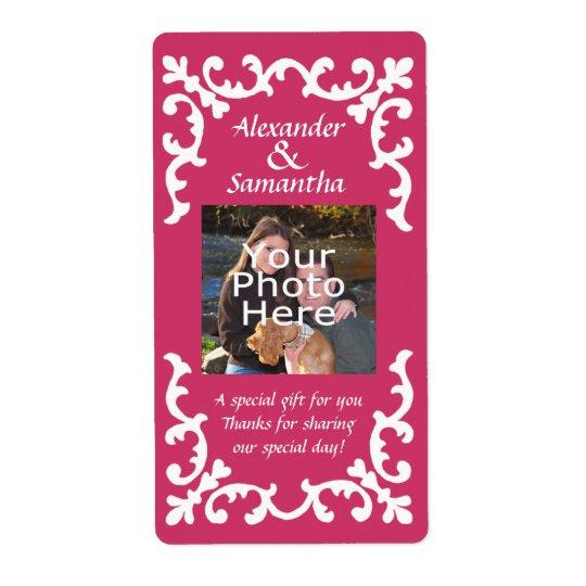 Regalo de boda o etiqueta rosado del favor etiqueta de envío