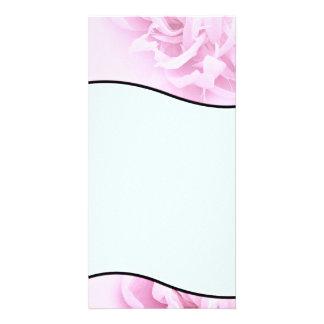 Regalo de boda rosado y blanco elegante del flor tarjetas fotograficas personalizadas