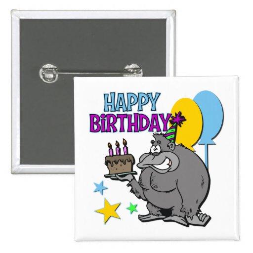 Regalo de cumpleaños del gorila pin cuadrado