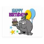 Regalo de cumpleaños del gorila tarjeta postal