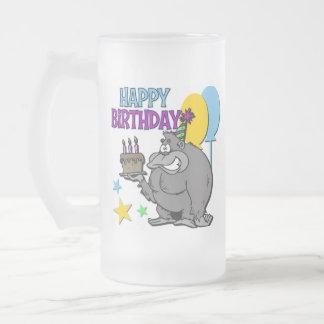 Regalo de cumpleaños del gorila taza cristal mate