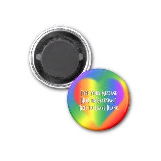Regalo de encargo del amor del arco iris de los im imán redondo 3 cm
