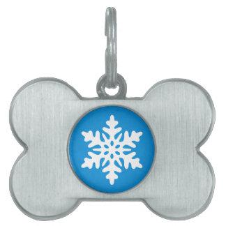 Regalo de encargo del navidad de los copos de niev placa de mascota