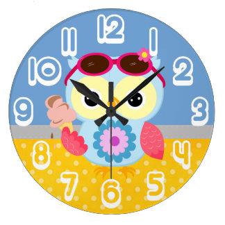 Regalo de encargo magnífico del búho del verano reloj redondo grande