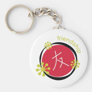 Regalo de la amistad del símbolo del carácter chin llavero redondo tipo pin