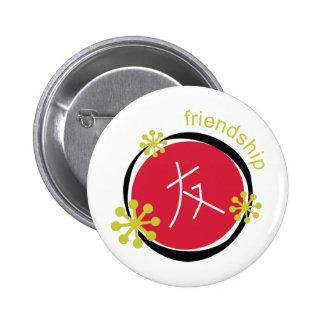 Regalo de la amistad del símbolo del carácter pin redondo de 2 pulgadas