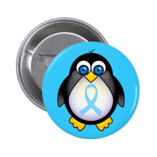 Regalo de la cinta de la turquesa del pingüino pin redondo 5 cm