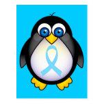 Regalo de la cinta de la turquesa del pingüino postales