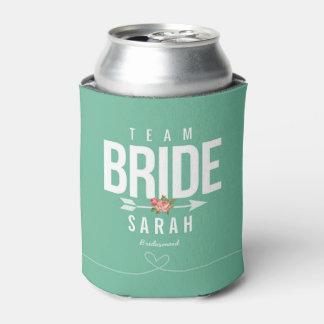 Regalo de la dama de honor del verde de la novia enfriador de latas