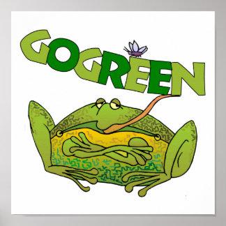 Regalo de la ecología de la rana verde póster