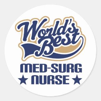 Regalo de la enfermera MED-Surg Pegatina Redonda